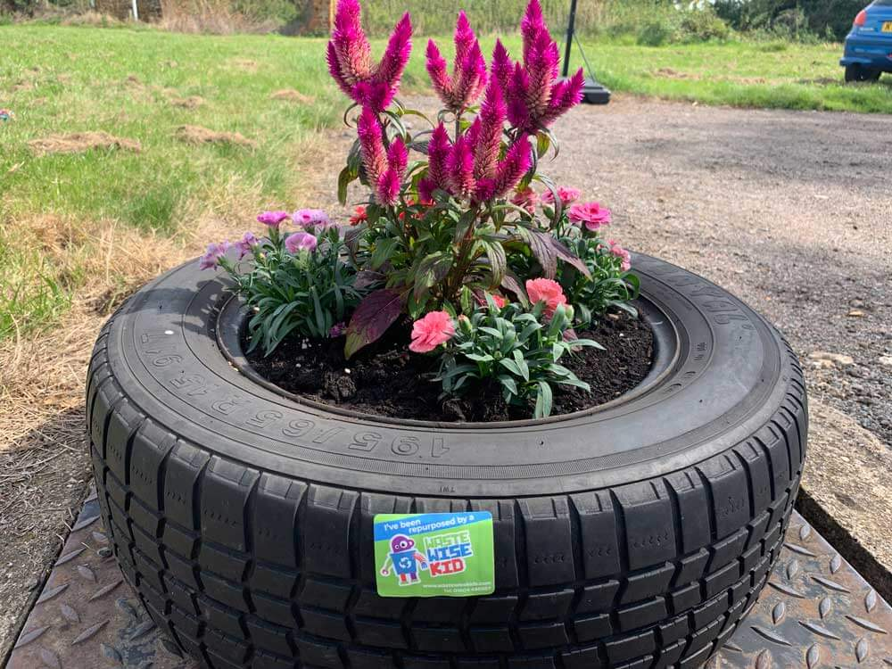 Old tyre made into a planter