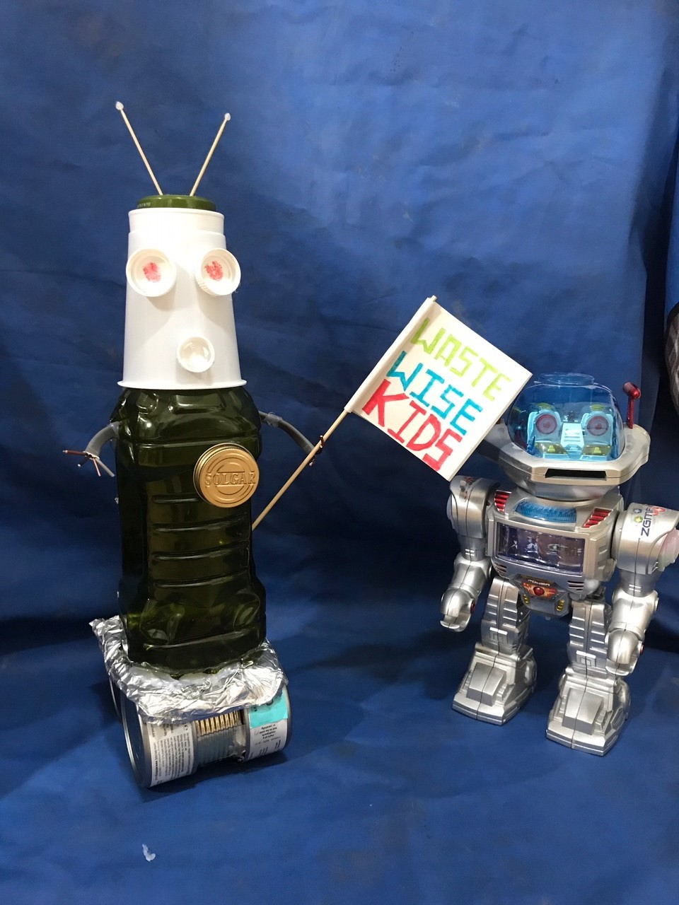 Another Jeff the robot- to keep our WWK Jeff company! Complete with an amazing flag!